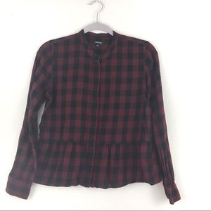 Red Madewell Plaid Button Down Peplum Top Small